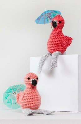 Fiona & Fred Crochet Flamingo in Red Heart Amigurumi - LM6297 - Downloadable PDF