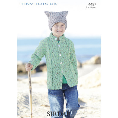 Cable Cardigan & T-Bag Hat in Sirdar Snuggly Tiny Tots DK - 4497