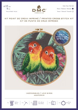 "DMC Love Birds (printed fabric, 6"" hoop) Cross Stitch Kit - 25cm x 25cm"