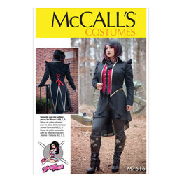 McCall's Misses' Lined Costume Vest and Jacket with Shaped Front and Back Hemlines M7616 - Sewing Pattern