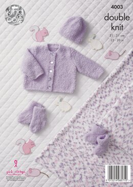 Cardigan, Hat, Blanket, Bootees and Socks in King Cole Cuddles DK - 4003