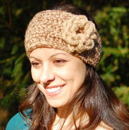 Pattern for Headband Style Earwarmer with Flower (three sizes)