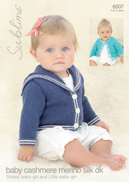 Stripey Sailor Girl and Little Sailor Girl in Sublime Baby Cashmere Merino Silk DK - 6007