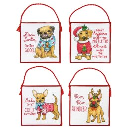 Dimensions Christmas Pups Cross Stitch Ornament Kit (4 pcs) - 9.5cm x 9.5cm