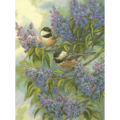 Dimensions Chickadees and Lilacs Cross Stitch Kit