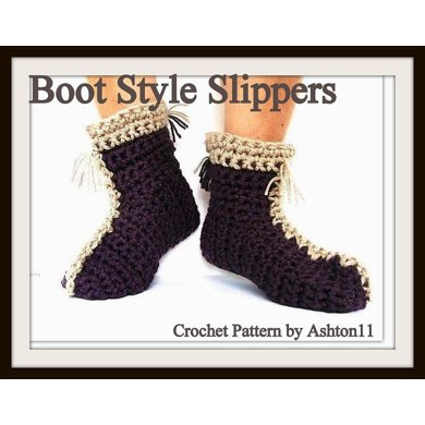 Boot Style Slippers | Crochet Pattern  by Ashton11
