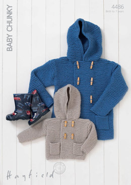 Hooded Boy's Duffle Coats in Hayfield Baby Chunky - 4486