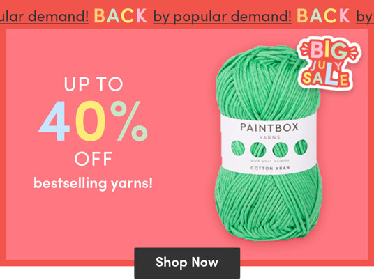 Up to 40 percent off bestselling yarns!