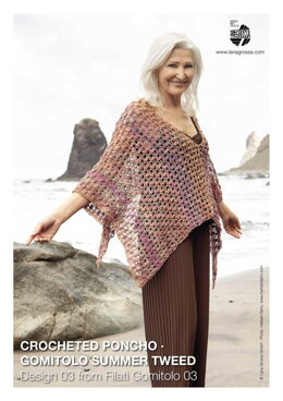 Crocheted Poncho in Lana Grossa Gomitolo Summer Tweed - 03 - Downloadable PDF
