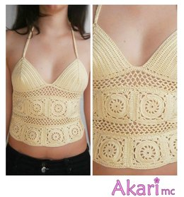 Open weave crochet top with Granny Squares _ M17