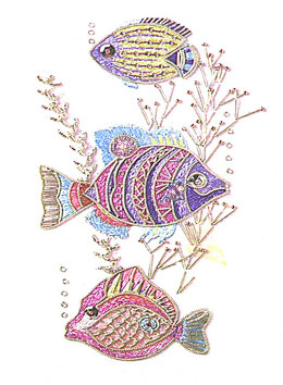 Rajmahal Fishes from Bangalore Embroidery Kit - 10 x 18cm