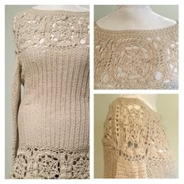 Lace Motif Tunic Sweater
