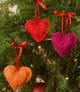 Decorative Hearts in Red Heart Soft Solids - LW2228