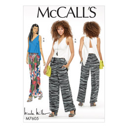 McCall's Misses' Close-Fitting Top with Back Extension and Pull-On Pants with Drawstring M7605 - Sewing Pattern