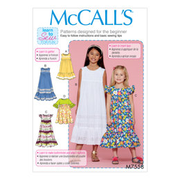 McCall's Children's/Girls' Sleeveless and Ruffle Sleeve Empire-Waist Dresses M7558 - Sewing Pattern