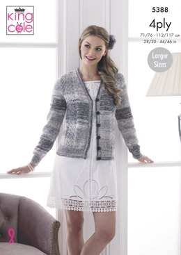 Lace Panel Cardigan and Sweater In King Cole Drifter 4ply - 5388pdf - Downloadable PDF