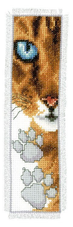 Vervaco Cat Close-Up Bookmark Cross Stitch Kit - 6cm x 20cm