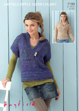 Woman's Sweater and Sleeveless Top in Hayfield Ripple Super Chunky - 7199