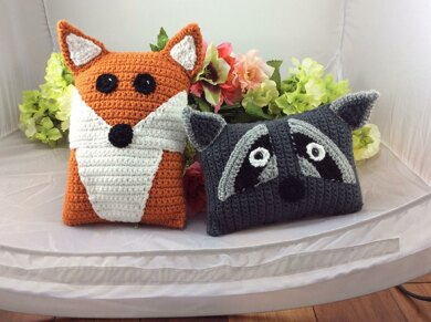 Raccoon and Red Fox Pillow Pals