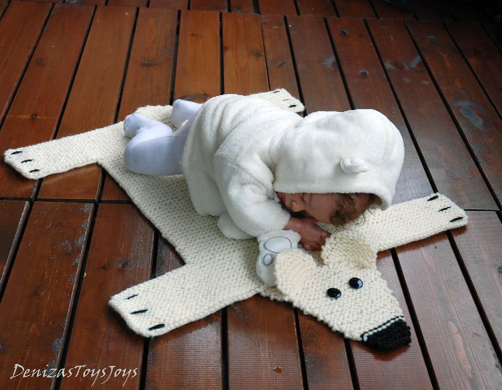 Polar Bear Rug Knitting Pattern : Baby blanket polar bear rug mat number knitting