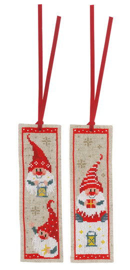 Vervaco Chistmas Gnomes 2pk Bookmark Cross Stitch Kit