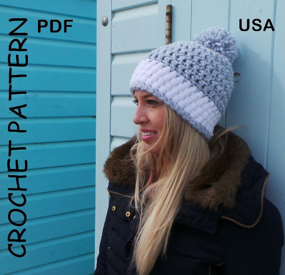 Crochet hat pattern Nordic Snow Hat USA Crochet pattern by Kerry ... 4258ccb49a1