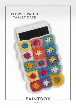 Flower Patch Tablet Case in Paintbox Yarns Simply DK - Downloadable PDF
