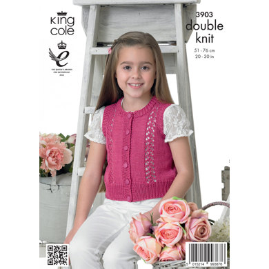 Girls' Cardigan and Waistcoat in King Cole Giza Cotton DK - 3903