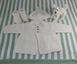 New Baby Matinee Coat, Booties Beanie and Toy Lamb