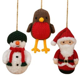 Christmas Santa Claus, Snowman and Robin