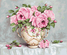 Luca-S Pink Roses Cross Stitch Kit - 48cm x 35cm
