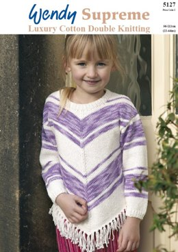 Chevron Striped Sweater and Cardigan in Wendy Pearl Cotton DK and Supreme Cotton DK - 5127