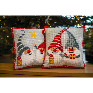 Vervaco Christmas Gnomes with Star Cushion Cross Stitch Kit