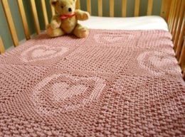 Easy heart pattern chunky baby blanket