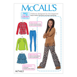 McCall's Girls'/Girls' Plus Raglan Sleeve Tops, Tiered Skirt, Pull-On Leggings and Pants M7463 - Sewing Pattern