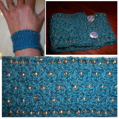 Cabled Cuff (beaded bracelet)
