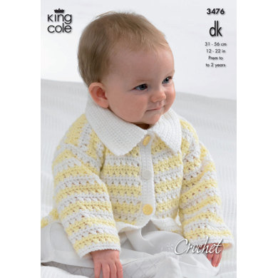 Hooded Jacket, Cardigan with Collar, Sweater and Waistcoat in King Cole DK - 3476