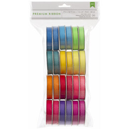 "American Crafts Premium Ribbon Value Pack .375""X4' 24/Spools - Neon"