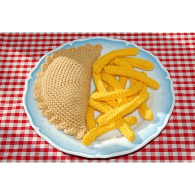 Knitting & Crochet Pattern for a Cornish Pasty and Chips / Fries - Knitted Toy Food
