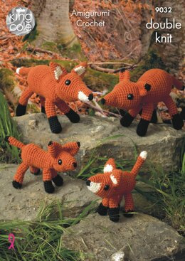 The Fox Family in King Cole Merino DK - 9032 - Downloadable PDF