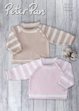 Sweater with Striped Sleeves in Peter Pan Baby Cotton DK - P1310 - Downloadable PDF