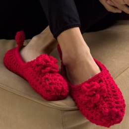 Double-Sole Slippers in Red Heart Super Saver Economy Solids - WR2031