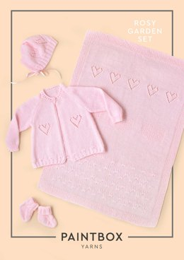 """Rosy Garden Set"" - Accessory Knitting Pattern in Paintbox Yarns Baby DK"
