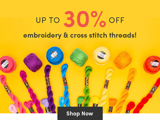 Up to 30 percent off embroidery & cross stitch threads!
