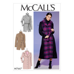 McCall's Misses' Princess Seamed Coats and Belt with Collar Options M7667 - Sewing Pattern