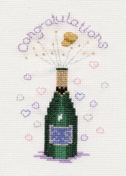 Derwentwater Designs Champagne Greeting Card Cross Stitch Kit - 12.5cm x 18cm