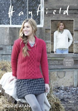 V Neck and Wrap Neck Sweaters in Hayfield Bonus Aran - 7801- Downloadable PDF