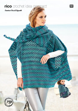 Poncho & Shawl in Rico Creative Wool Dégradé - 759 - Downloadable PDF