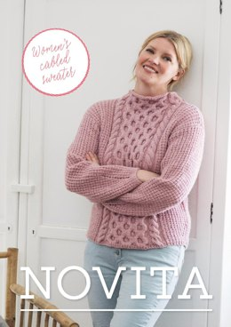 Women's Cabled Sweater in Novita 7 Veljestä - 33 - Downloadable PDF