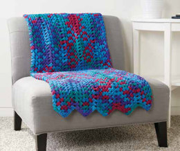 Granny Stitch Chevron Blanket in Caron Simply Soft Stripes - Downloadable PDF